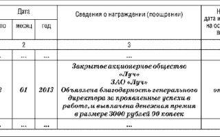 Порядок внесения записи о награждении и поощрении работника в трудовую книжку: образец документа