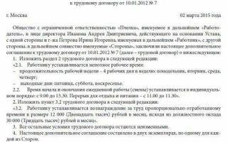 Дополнительное соглашение к трудовому договору о неполном рабочем дне