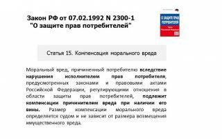 Содержание статьи 15 закона «о защите прав потребителей»: возмещение морального вреда