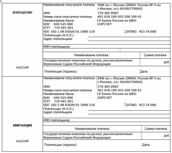 Реквизиты по уплате госпошлины для подачи документов в суд ифнс 4